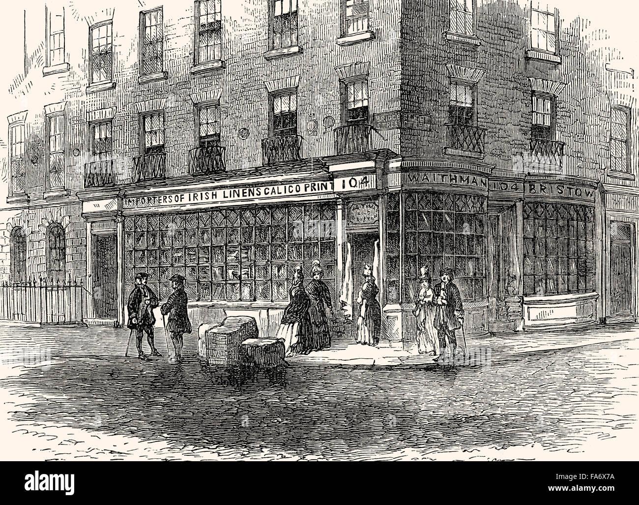 Waithman's shop in Fleet Street; London, Alderman Robert Waithman, 1764-1833, Politician and Lord Mayor of London, - Stock Image