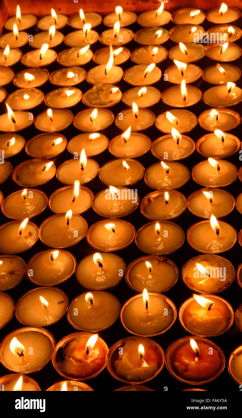 Butter lamps in a Buddhist monastery, Thimphu, Bhutan - Stock Image