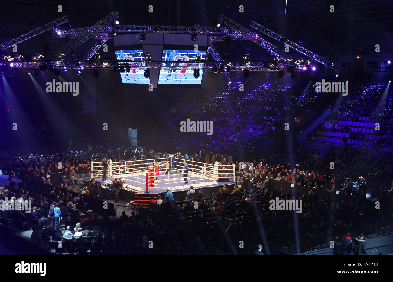 KYIV, UKRAINE - DECEMBER 13, 2014: Tribunes of Palace of Sports in Kyiv during 'Evening of Boxing' - Stock Image