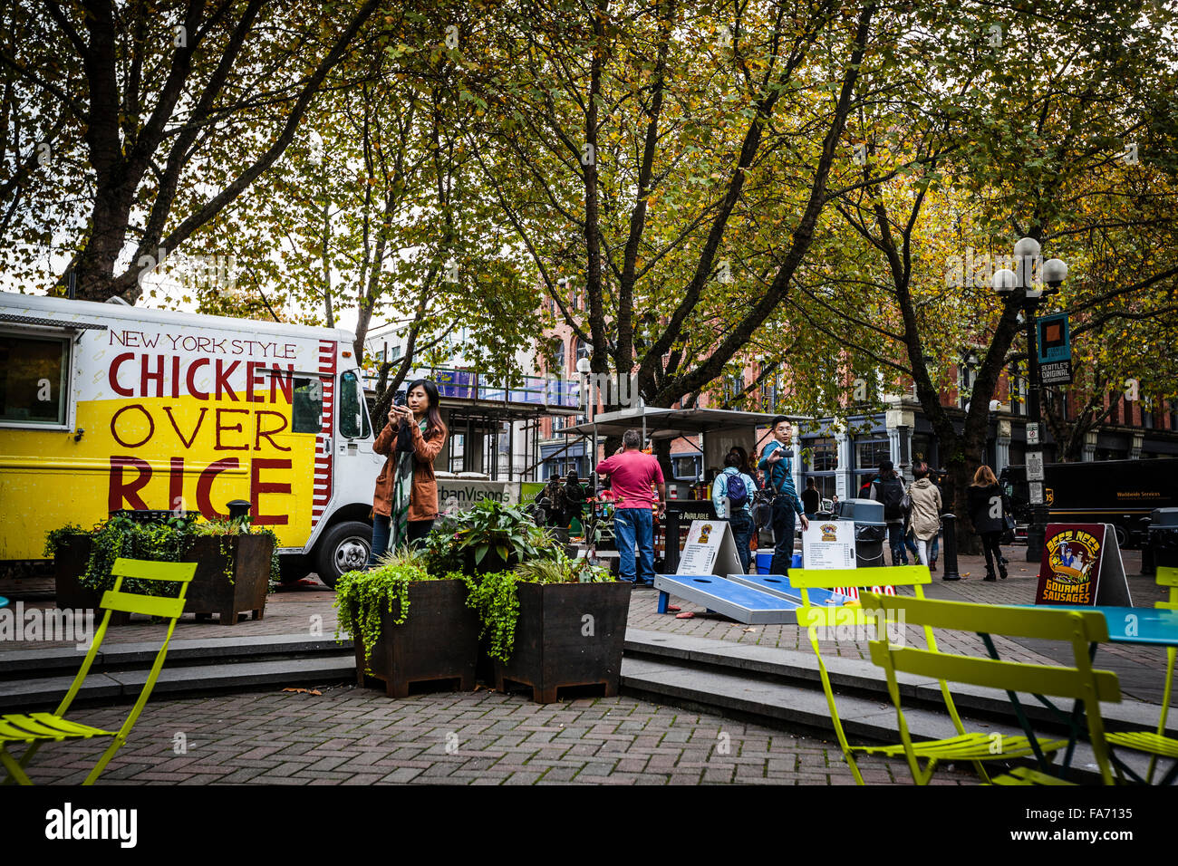 Occidental Park Is In The Heart Of The Historic Pioneer Square Stock Photo Alamy