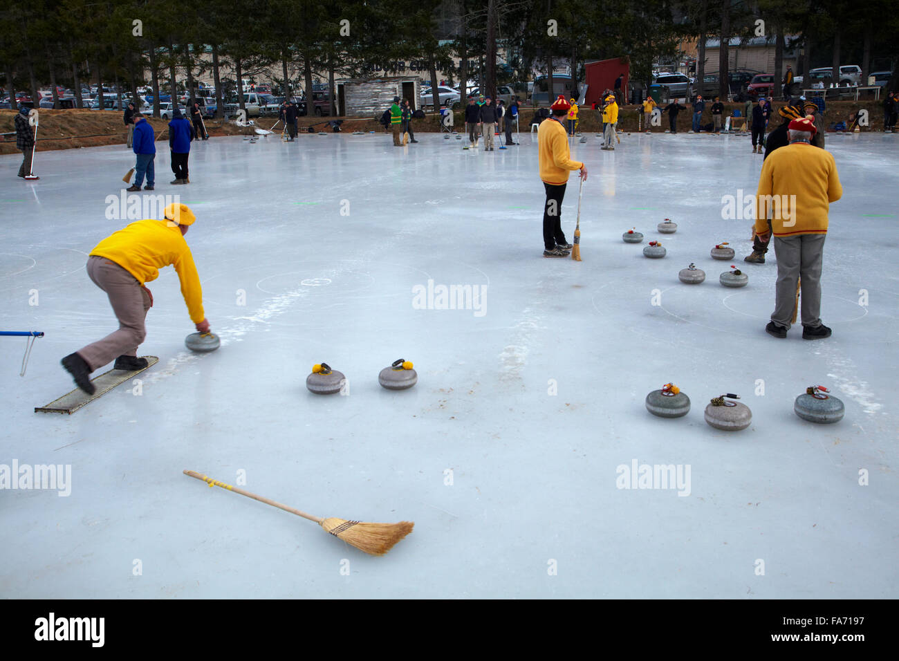 Curling Bonspiel, Naseby, Maniototo, Central Otago, South Island, New Zealand - Stock Image
