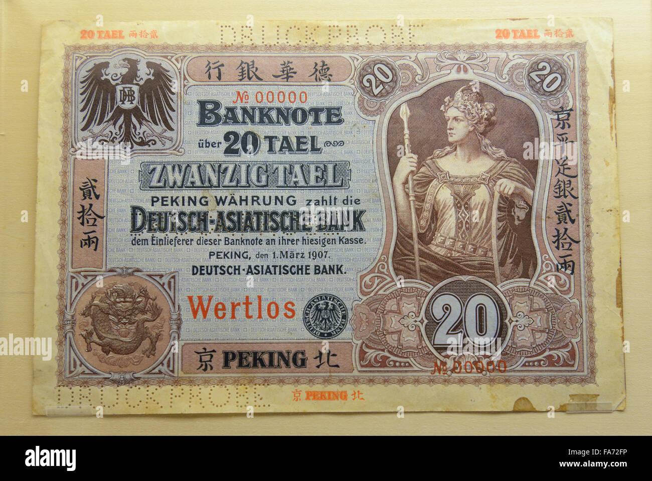 20 Tael, Banknote Deutsch-Asiatische Bank. 1907. Shanghai Museum. - Stock Image