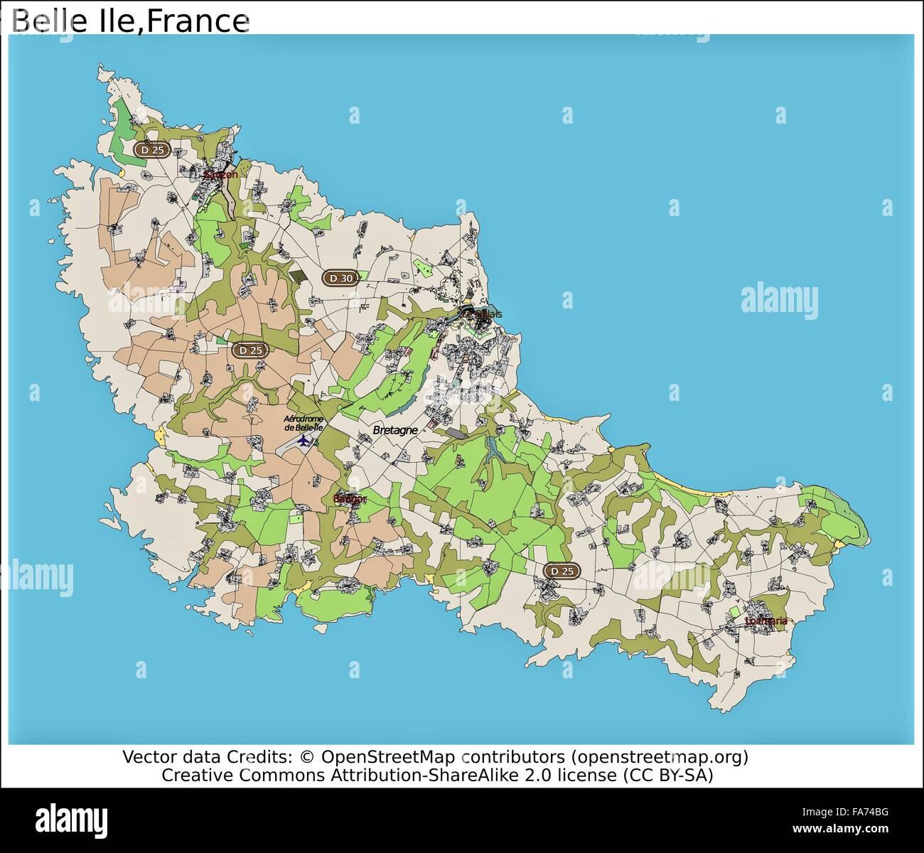 Belle Ile France location map Stock Photo 92355524 Alamy