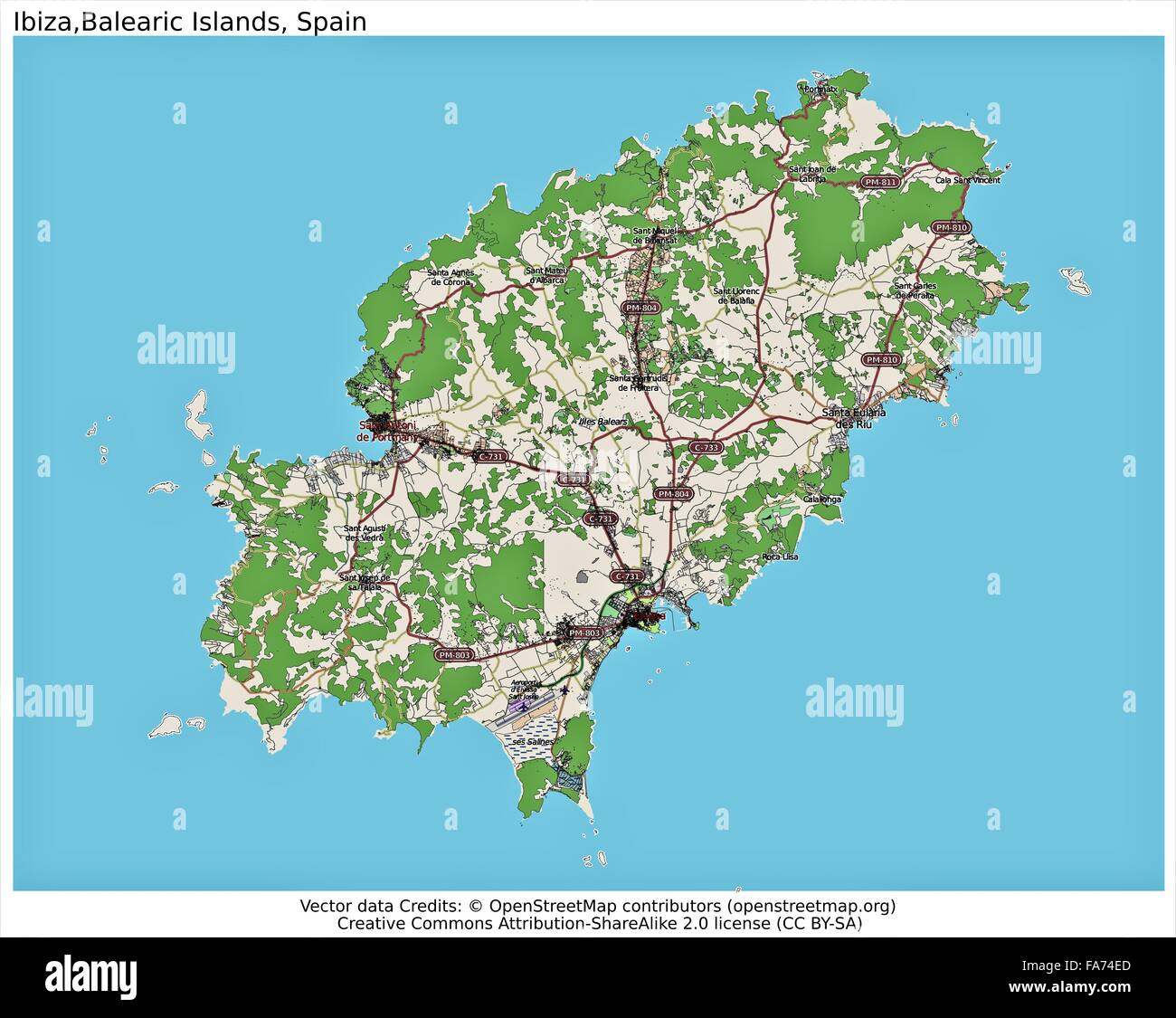 Ibiza Balearic Spain location map Stock Photo 92355605 Alamy