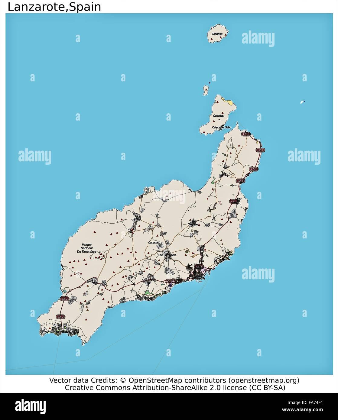 Map Of Spain Lanzarote.Lanzarote Spain Location Map Stock Photo 92355624 Alamy