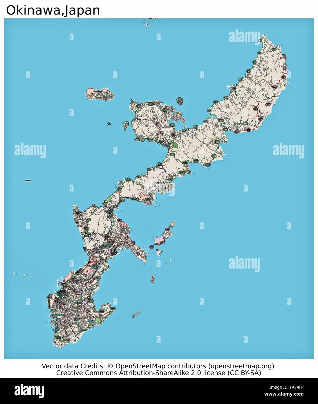 Okinawa Japan Location Map Stock Photo 92355642 Alamy