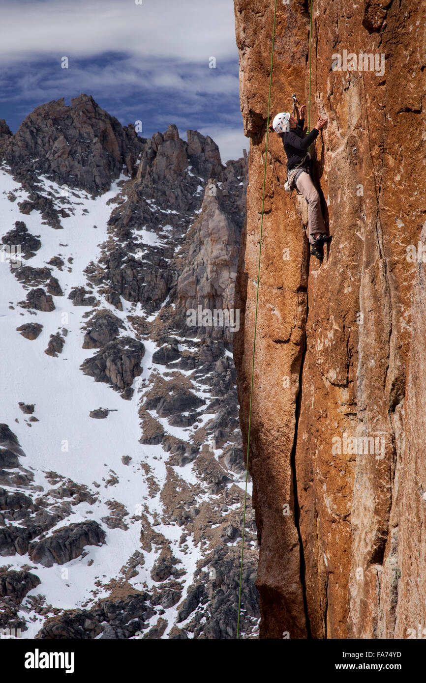 Rock climbing a granite spire in the Argentine Andes' acclaimed 'Cerro Catedral' climbing area near - Stock Image