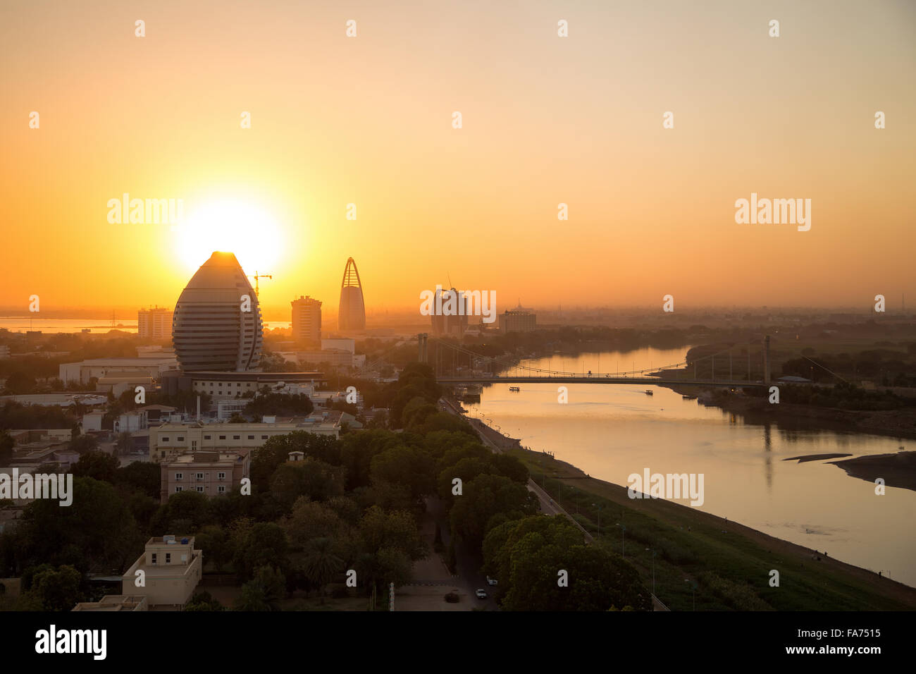 A sunset view of river Nile in Khartoum, South Sudan - Stock Image