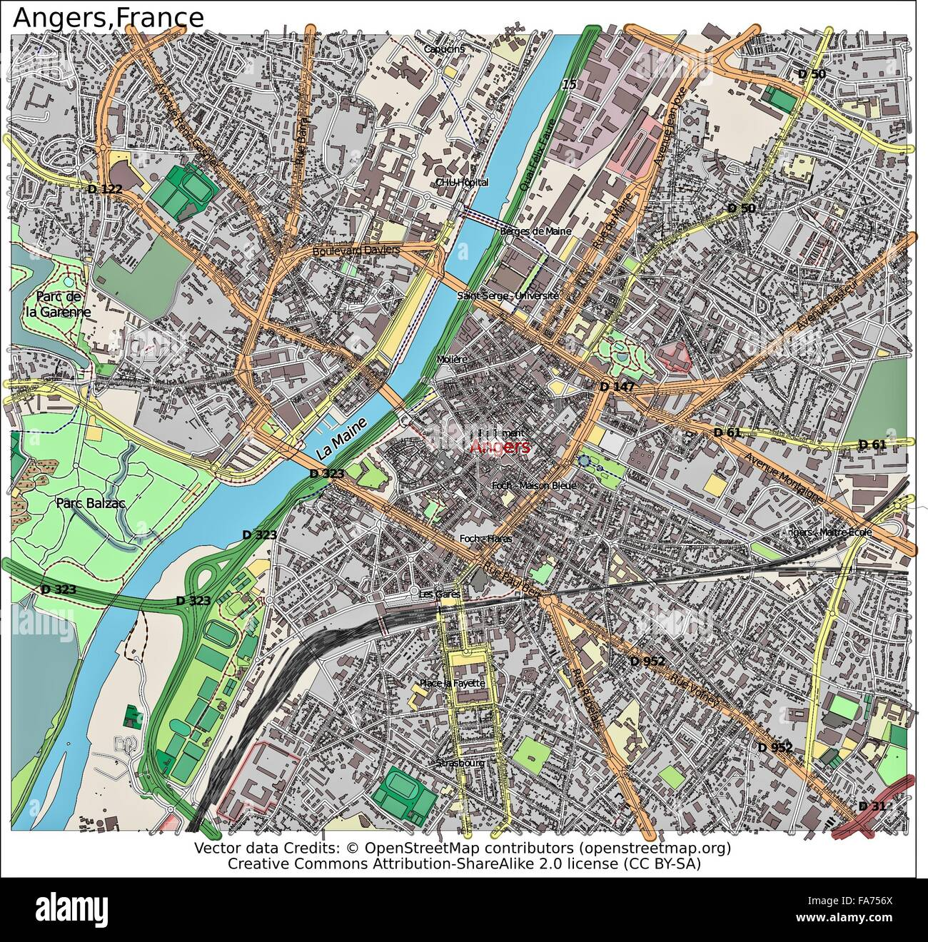 Angers France Location Map Stock Photo 92356178 Alamy