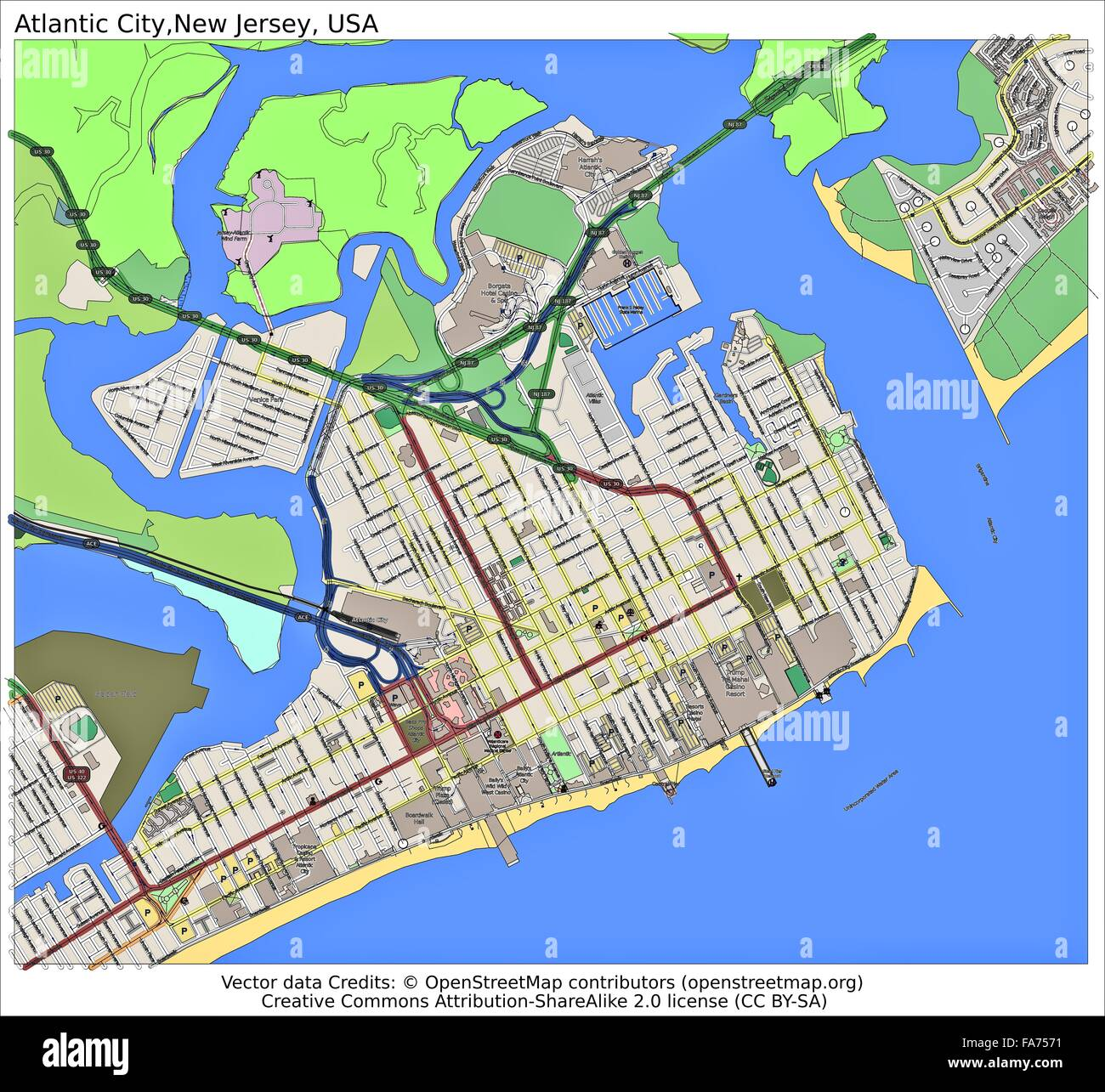 Atlantic City New Jersey USA location map Stock Photo 92356181 Alamy