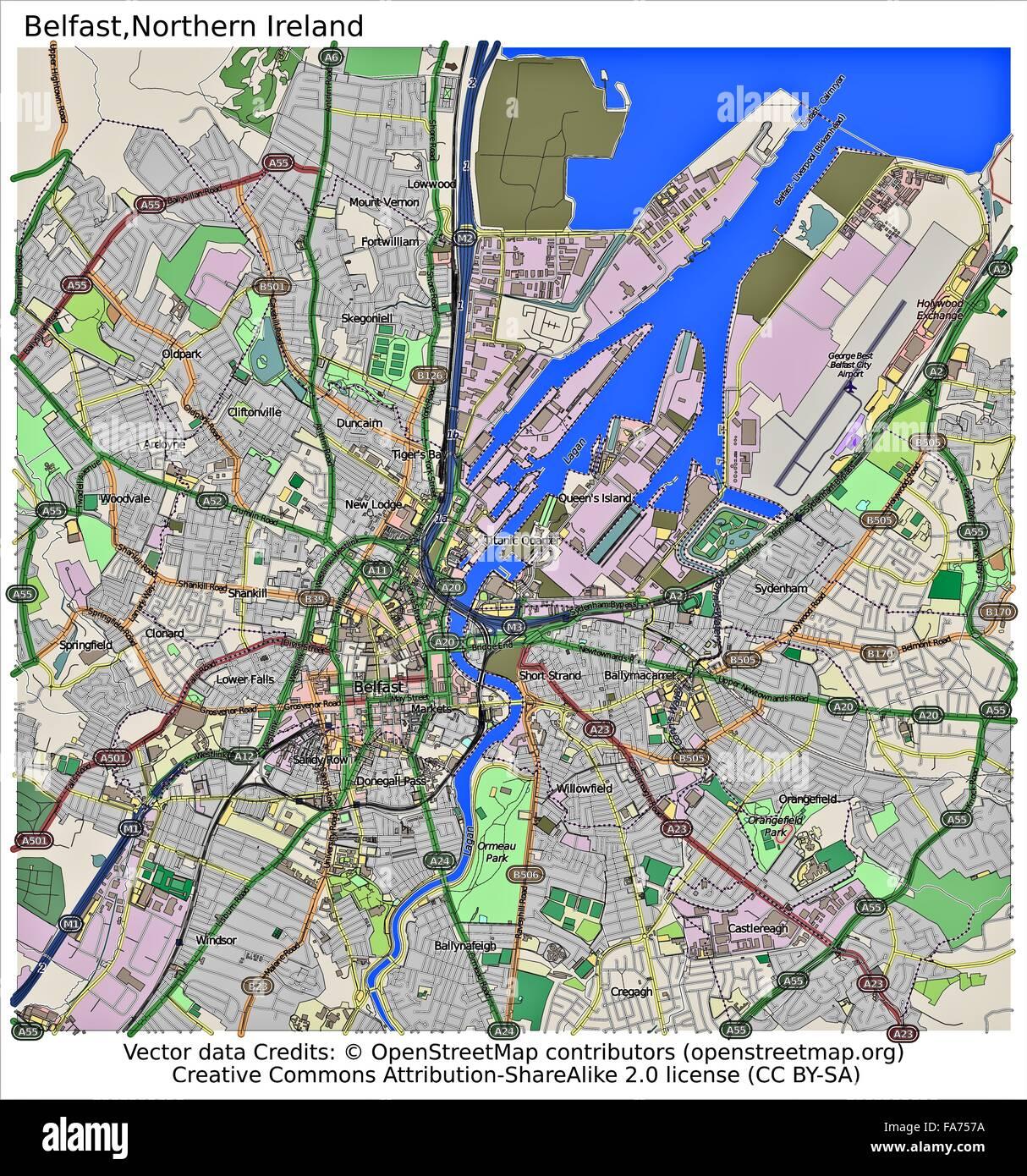 Belfast Northern Ireland location map Stock Photo: 92356190 - Alamy