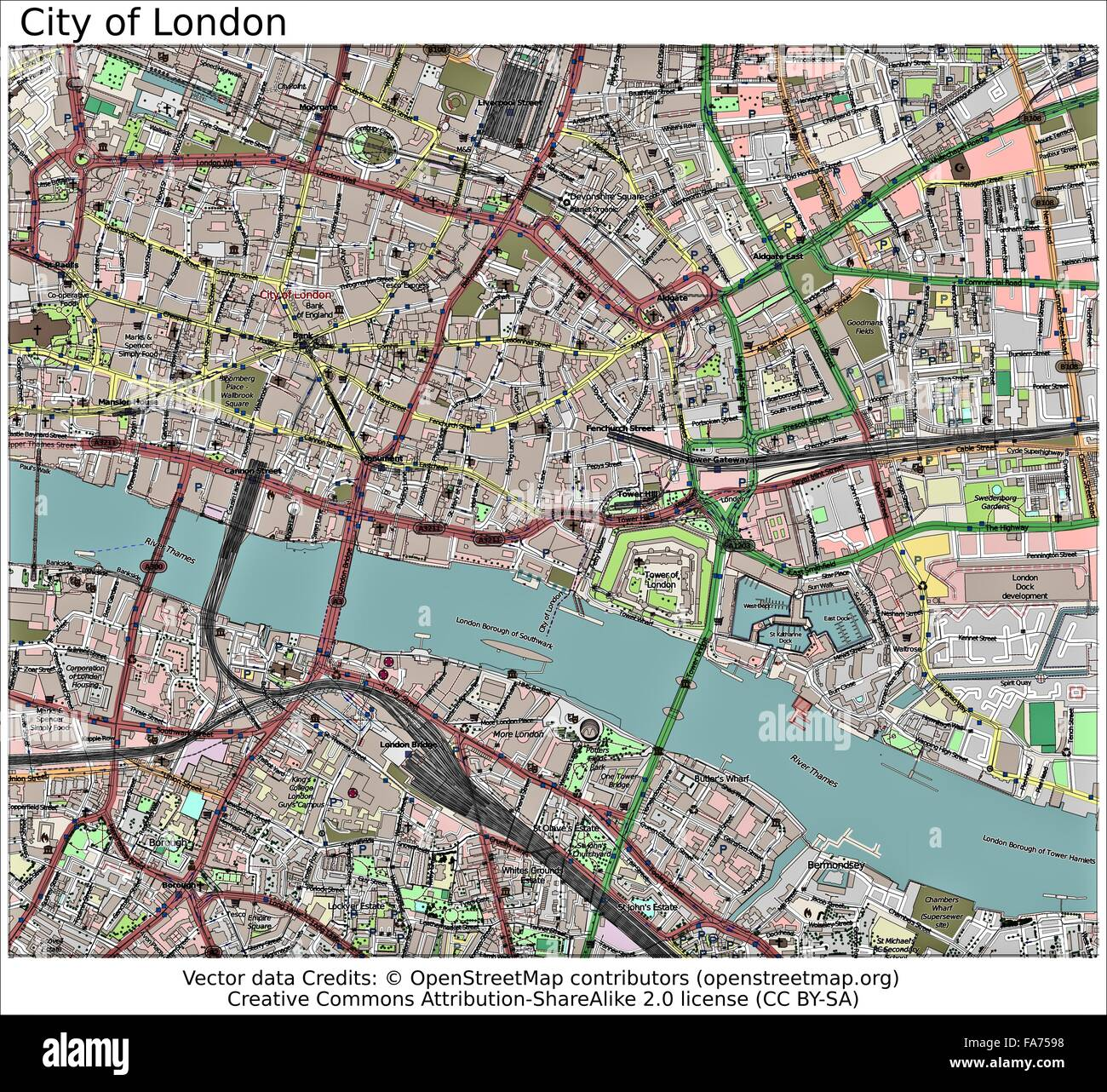 city london england uk location map stock image