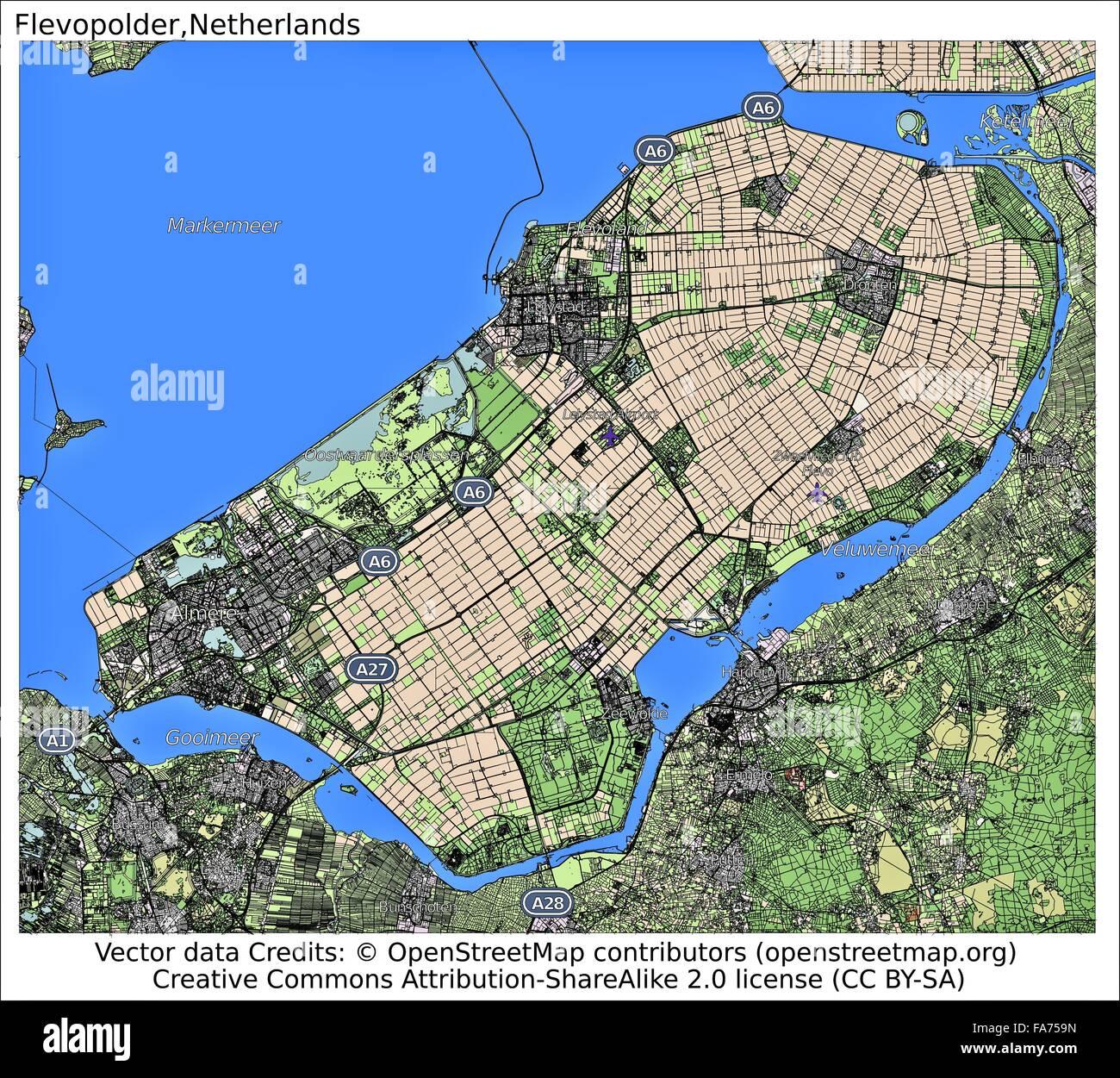 Flevopolder Netherlands Location Map Stock Photo 92356257
