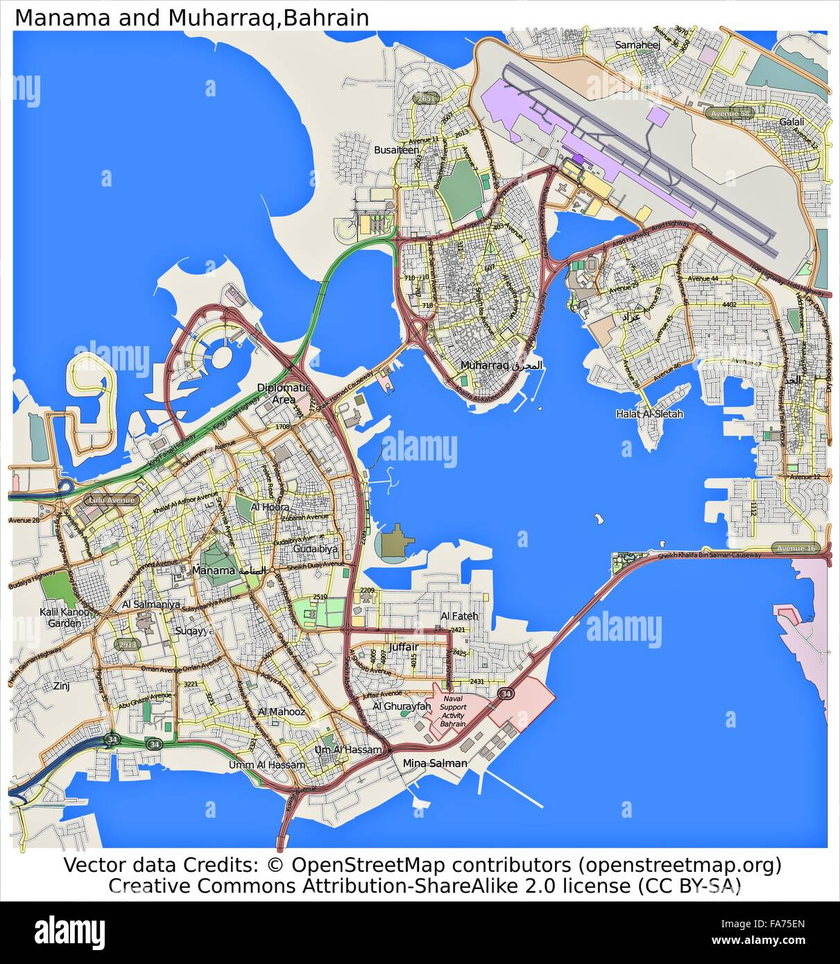 Manama Muharraq Bahrain location map Stock Photo: 92356397 - Alamy