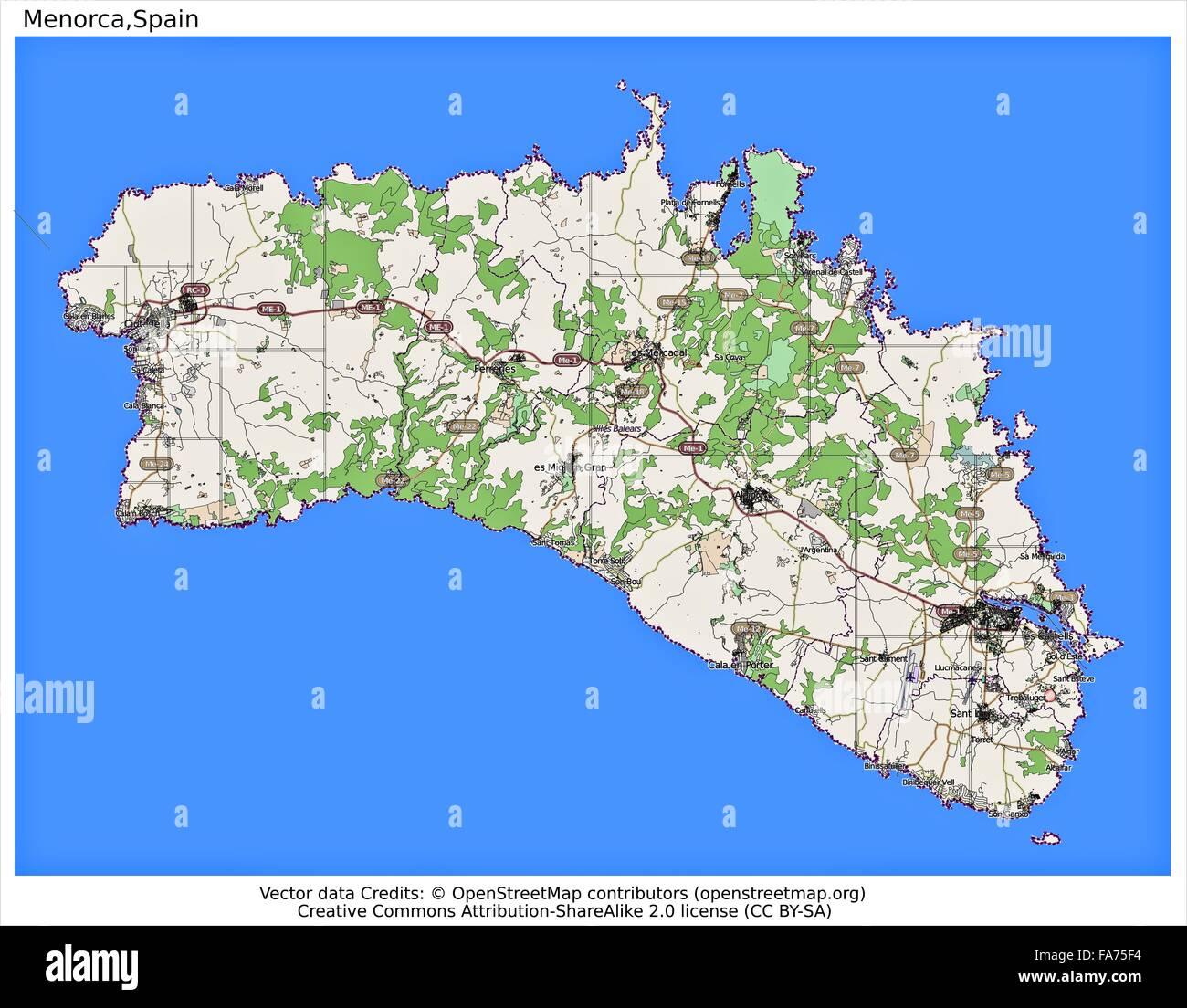 Menorca Spain Location Map Stock Photo 92356408 Alamy