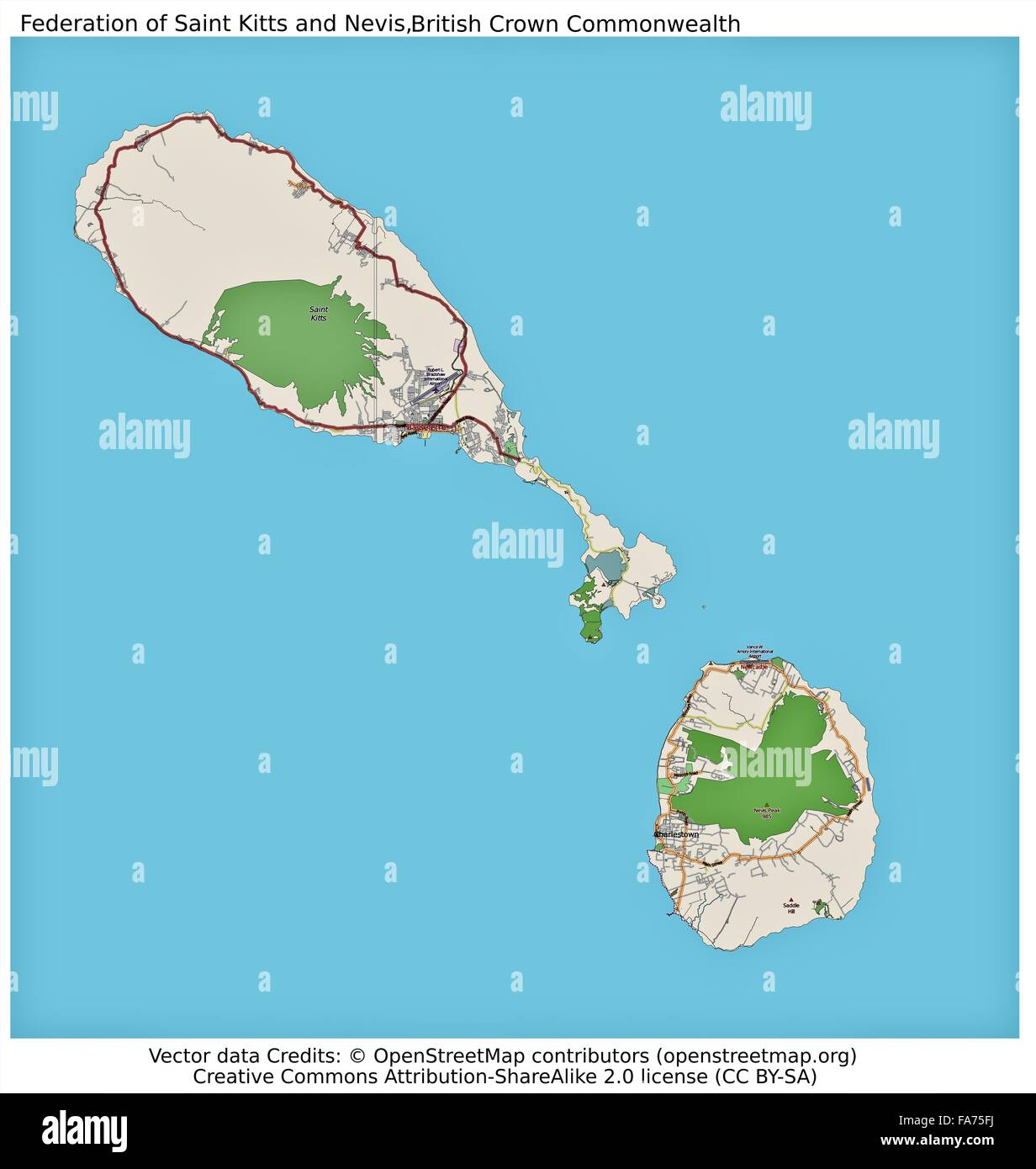 St Kitts and Nevis Caribbean location map Stock Photo: 92356422 - Alamy