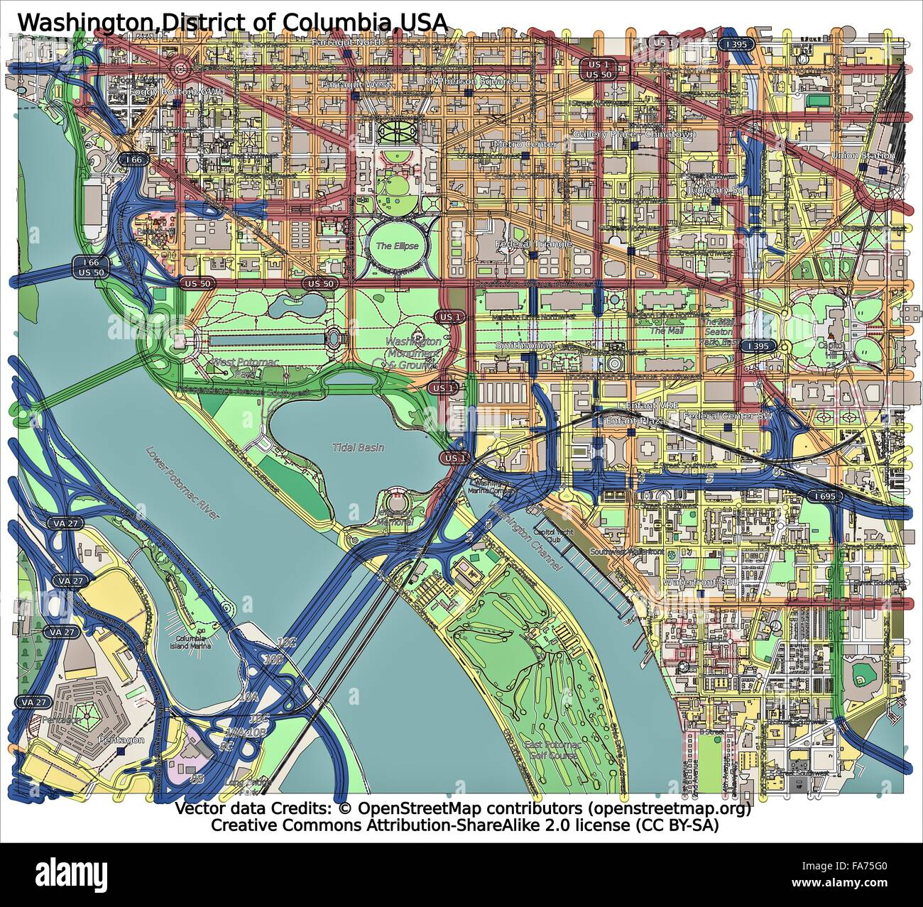 Washington DC USA location map Stock Photo: 92356432 - Alamy