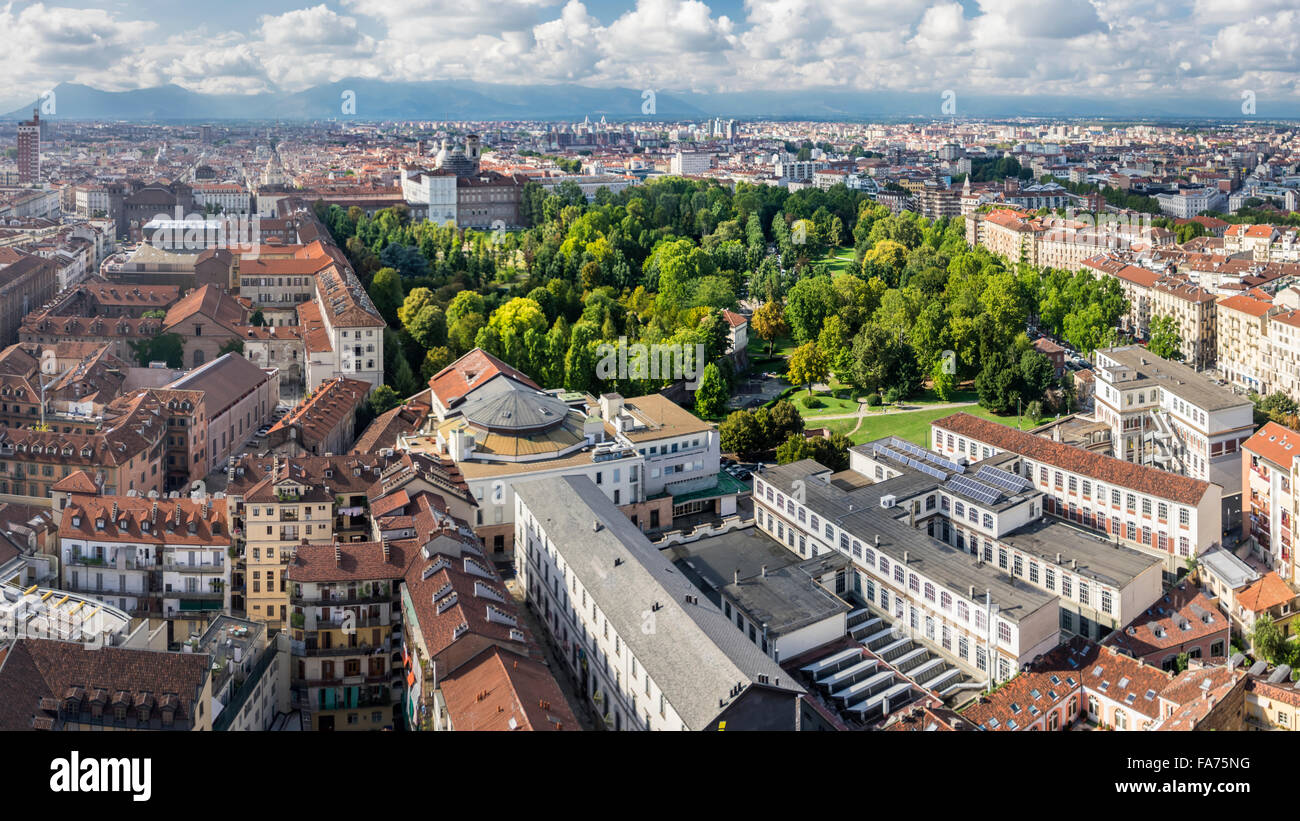 Panoramic view over the city center and giardini reali the royal