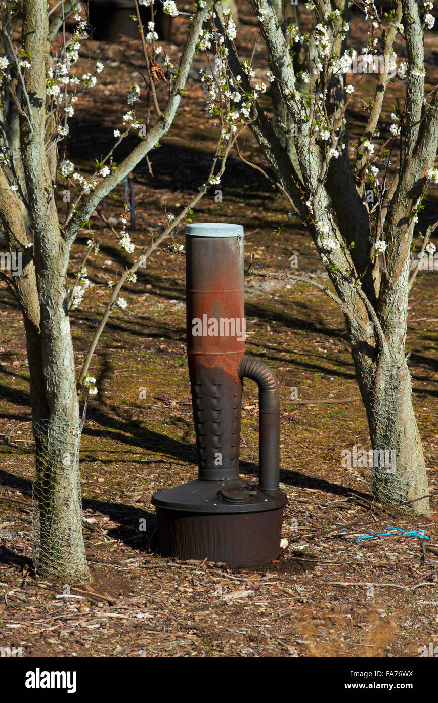 Smoke pot for frost fighting on orchard, Conroys Gully, near Alexandra, Central Otago, South Island, New Zealand - Stock Image