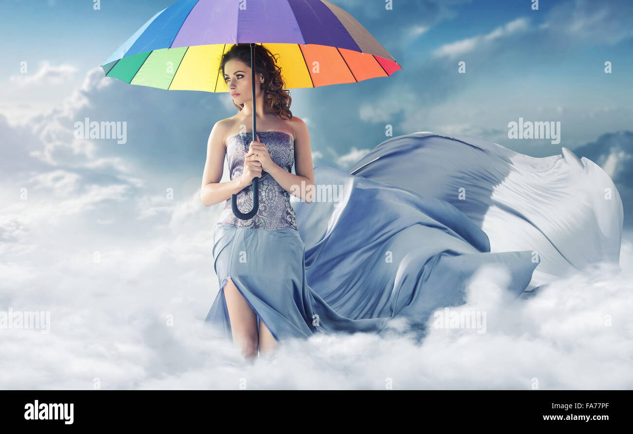Conceptual portrait of the lady in the sky - Stock Image