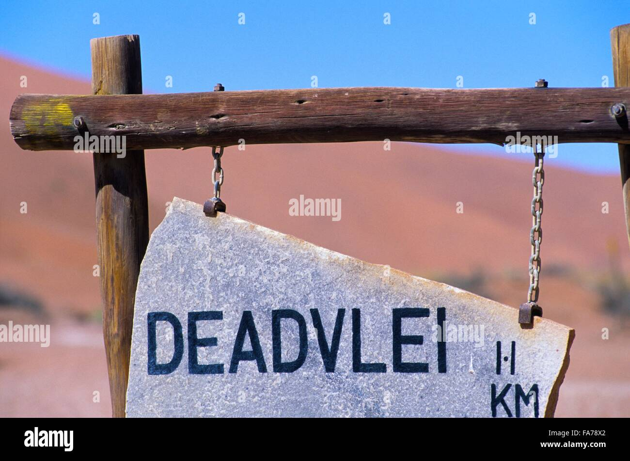 Namibia, Namib-Naukluft National park, Sossusvlei, Deadvlei sign // Namibie, Namib-Naukluft National park, Sossusvlei - Stock Image