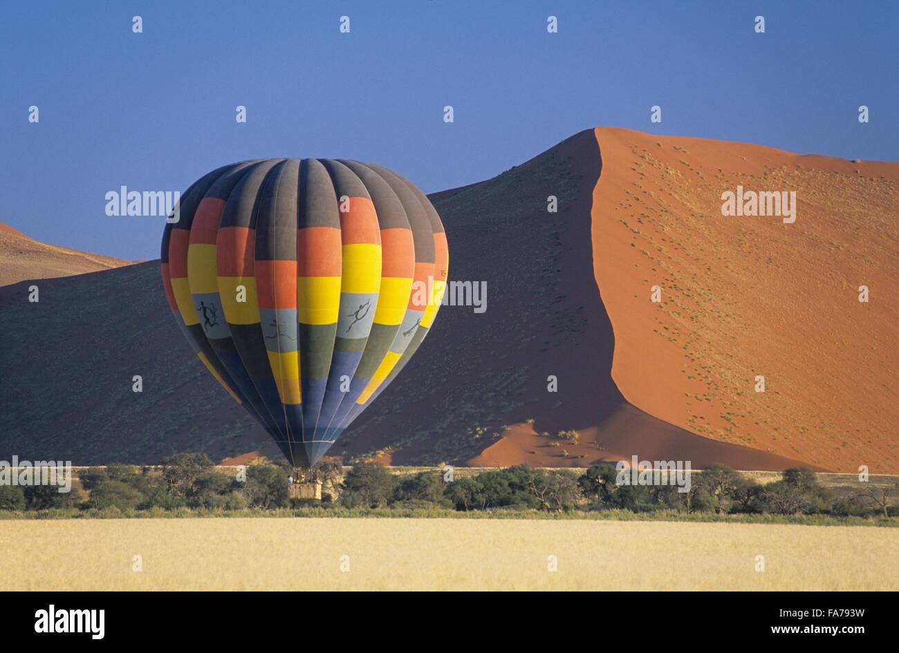 Namibia, Namib-Naukluft National park, hot-air balloon flying over Namib desert  // Namibie, Namib-Naukluft National - Stock Image