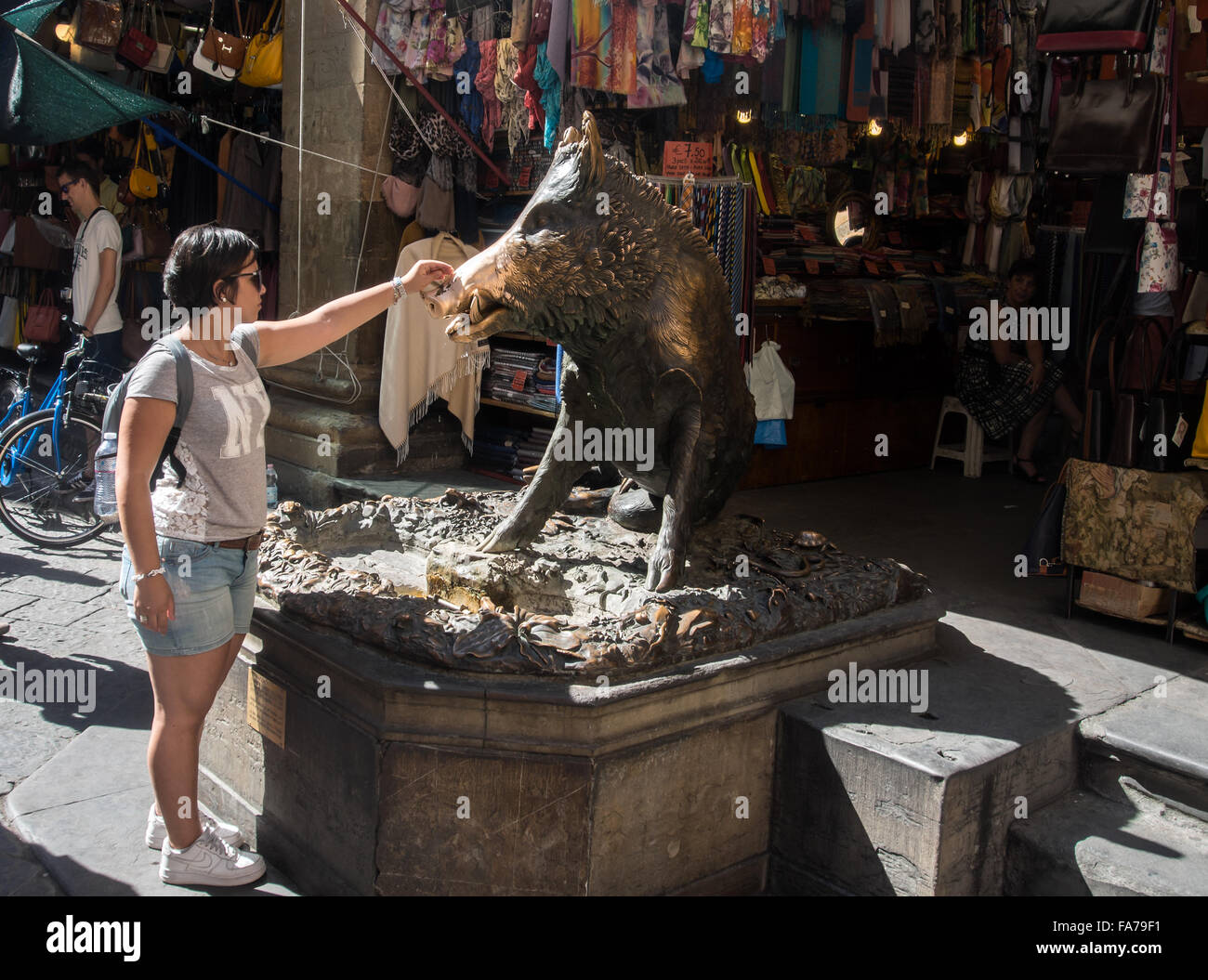 Bronze statue of Boar Pig in Piazza del Mercato Nuovo which bring good luck if touched - Stock Image