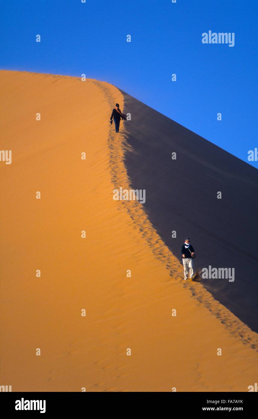 Namibia, Namib-Naukluft National park, Sesriem, Dune 45, hiker climbing on dune edge  // Namibie, Namib-Naukluft - Stock Image