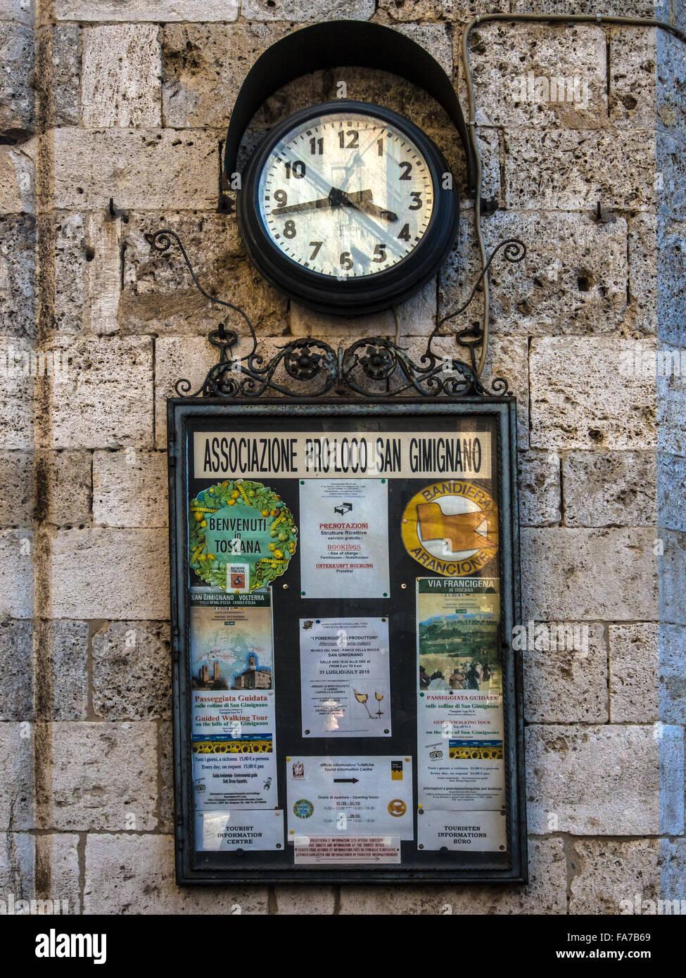 Local public noticeboard in San Gimignano, Tuscany, Italy - Stock Image