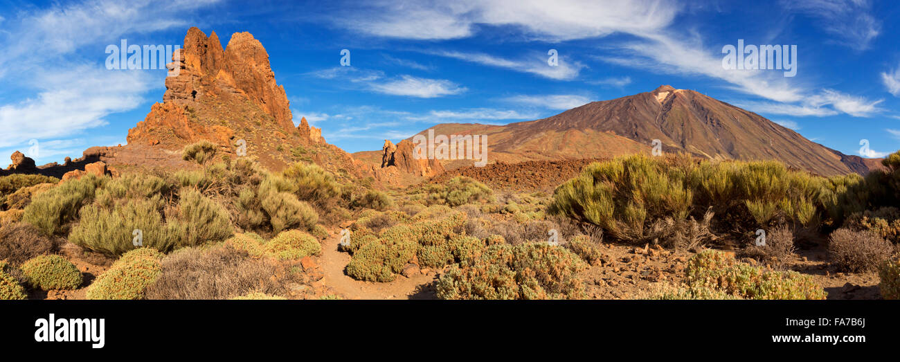 Rock formations at Roques de Garcia in the Teide National Park on Tenerife, Canary Islands, Spain. Photographed - Stock Image