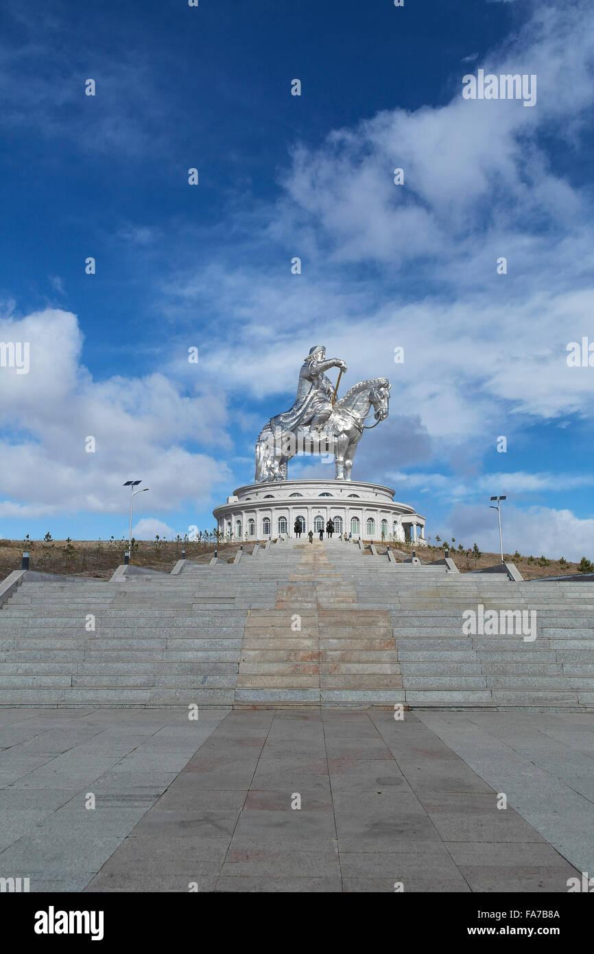 Chinggis Khaan statue, near of Ulaan Baatar - Mongolia - Stock Image