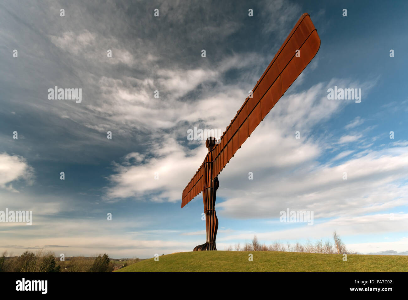 Photo of the Angel of the North at Gateshead on a nice sunny morning. - Stock Image