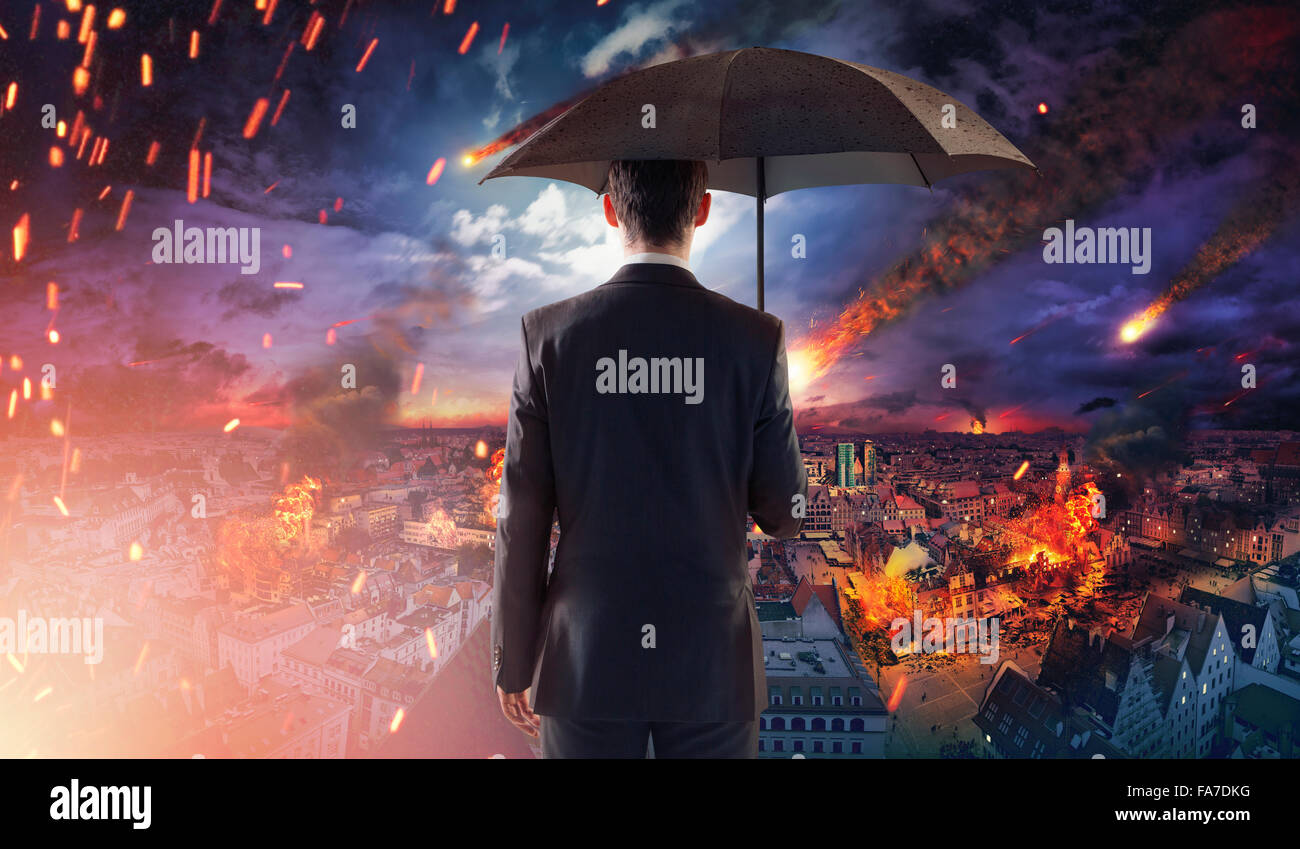 Concept of a market or ecology disaster with falling meteorites - Stock Image