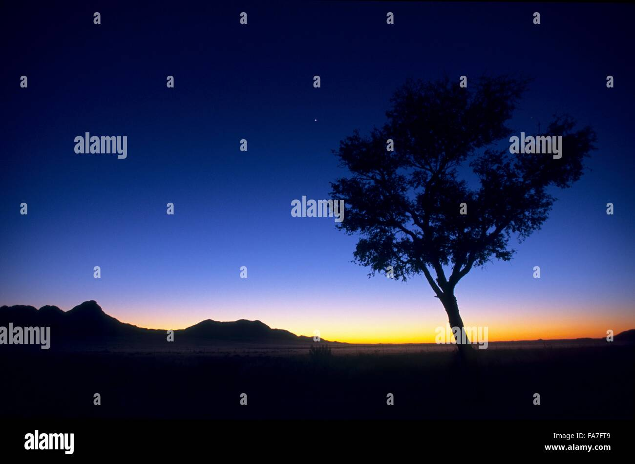 Namibia, Namib-Naukluft National park, South of Solitaire, night coming on desert // Namibie, Namib-Naukluft National - Stock Image