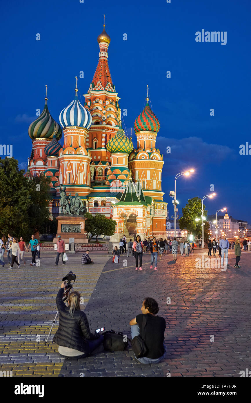 Saint Basil's Cathedral at night. Moscow  Russia. - Stock Image