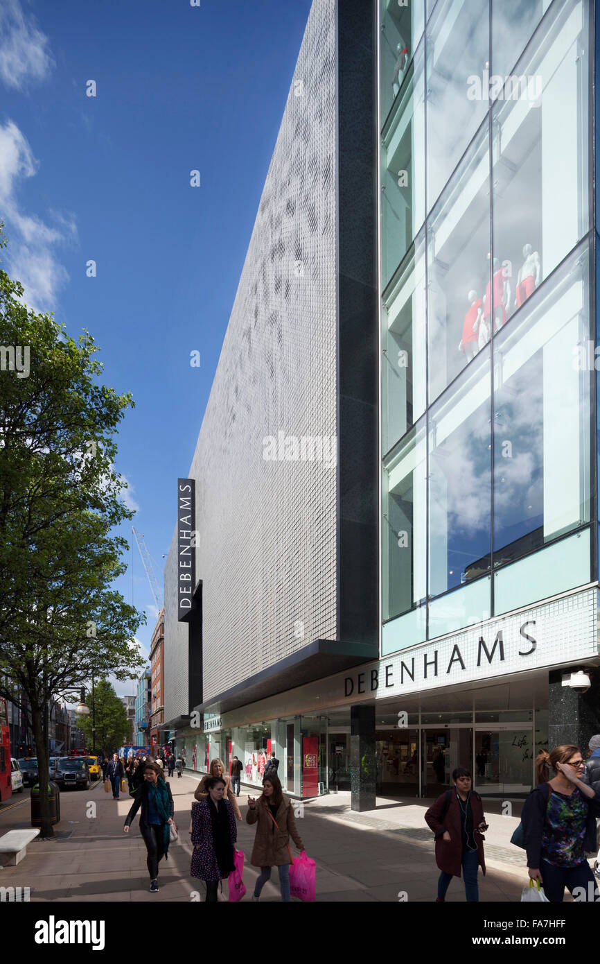 Debenhams, Oxford Street, London. New facade by Ned Kahn in conjunction with Archial Norr. - Stock Image