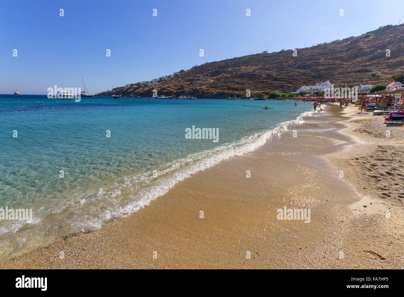 Best Island Beaches For Partying Mykonos St Barts: Psarou Mykonos Stock Photos & Psarou Mykonos Stock Images
