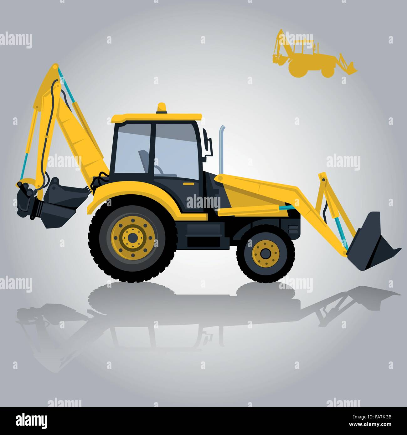 Yellow big digger builds roads. Ground works. Digging vehicle of sand coal rock construction. Illustration flatten - Stock Image