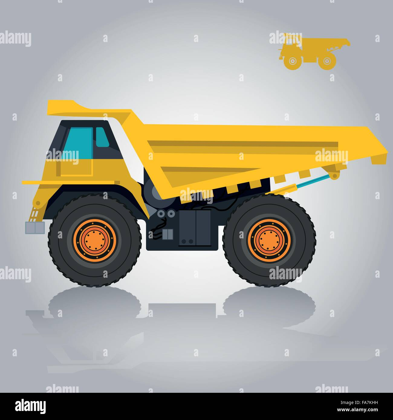 Yellow big truck transports roads. Cargo carrying of sand coal, waste rock and gravel. Golden flatten illustration - Stock Image