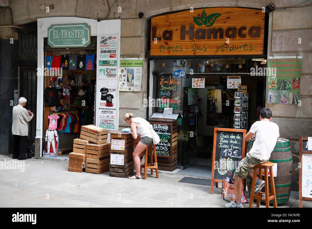 Bar and cafe, El Born, Barcelona, Spain, Europe - Stock Image