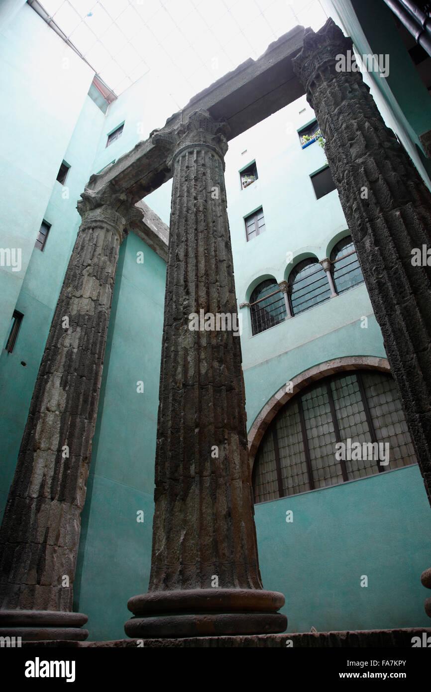 Barri Gotic, historic roman columns, Jupiter Temple, Barcelona, Spain, Europe - Stock Image