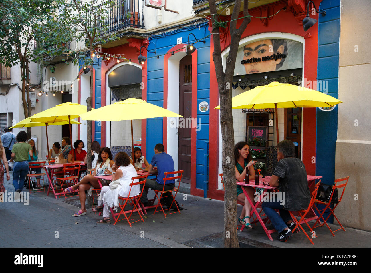 Mexican bar, Gracia, Barcelona, Spain, Europe - Stock Image