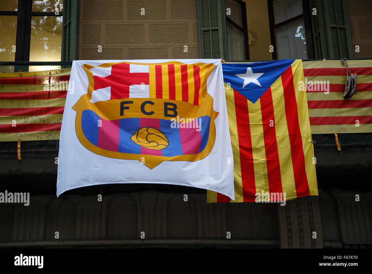 Flags of FC Barcelona and Catalunya, Barcelona, Spain, Europe - Stock Image