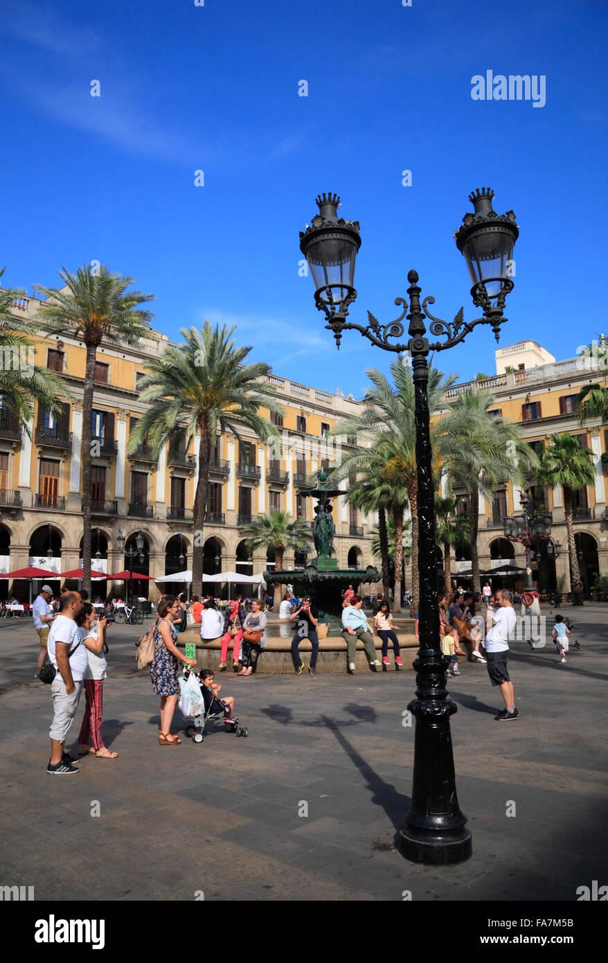 Placa Reial, Barri Gotic, Barcelona, Spain, Europe - Stock Image