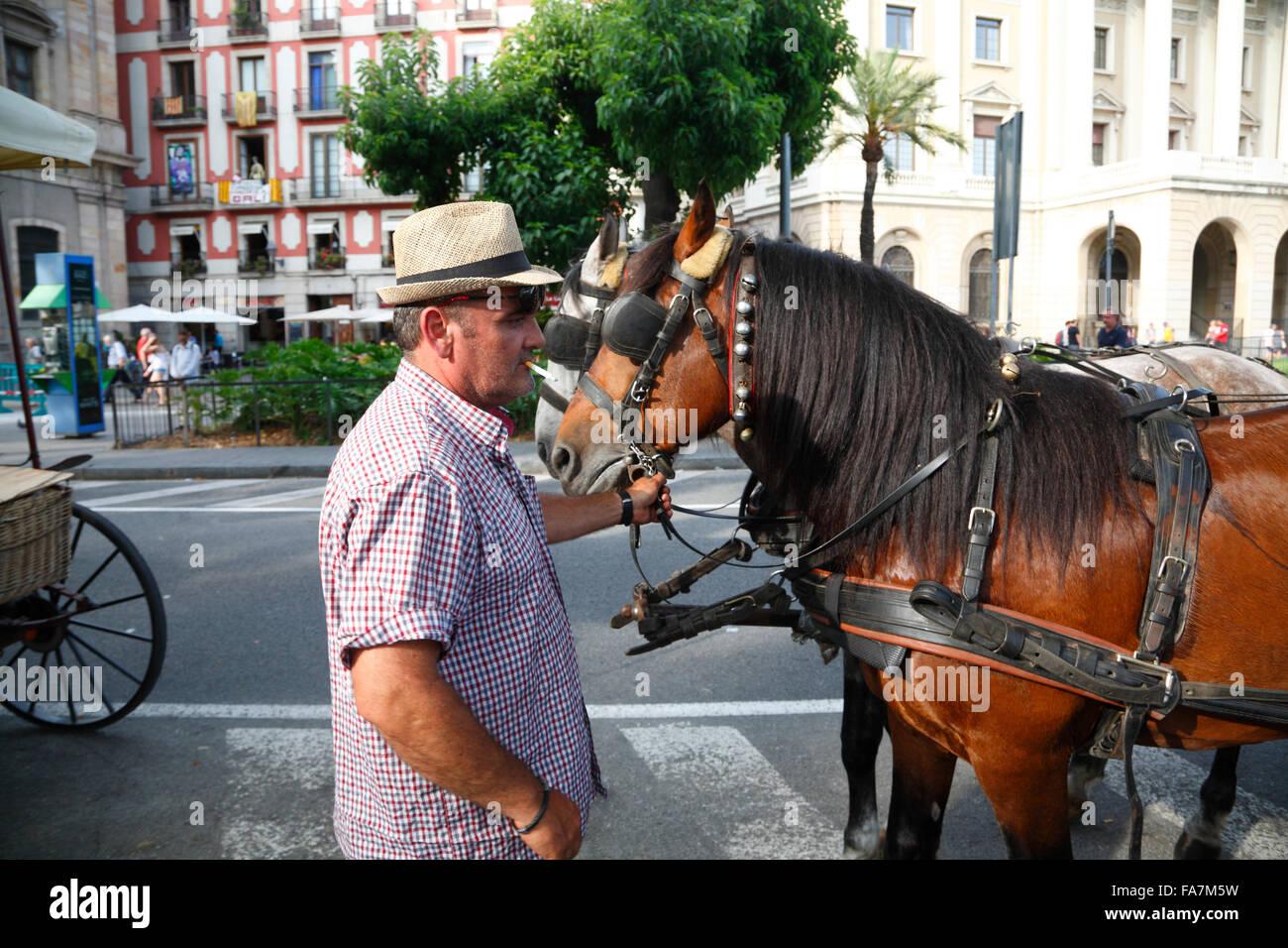 Carriage at Ramblas, Barri Gotic, Barcelona, Spain, Europe - Stock Image
