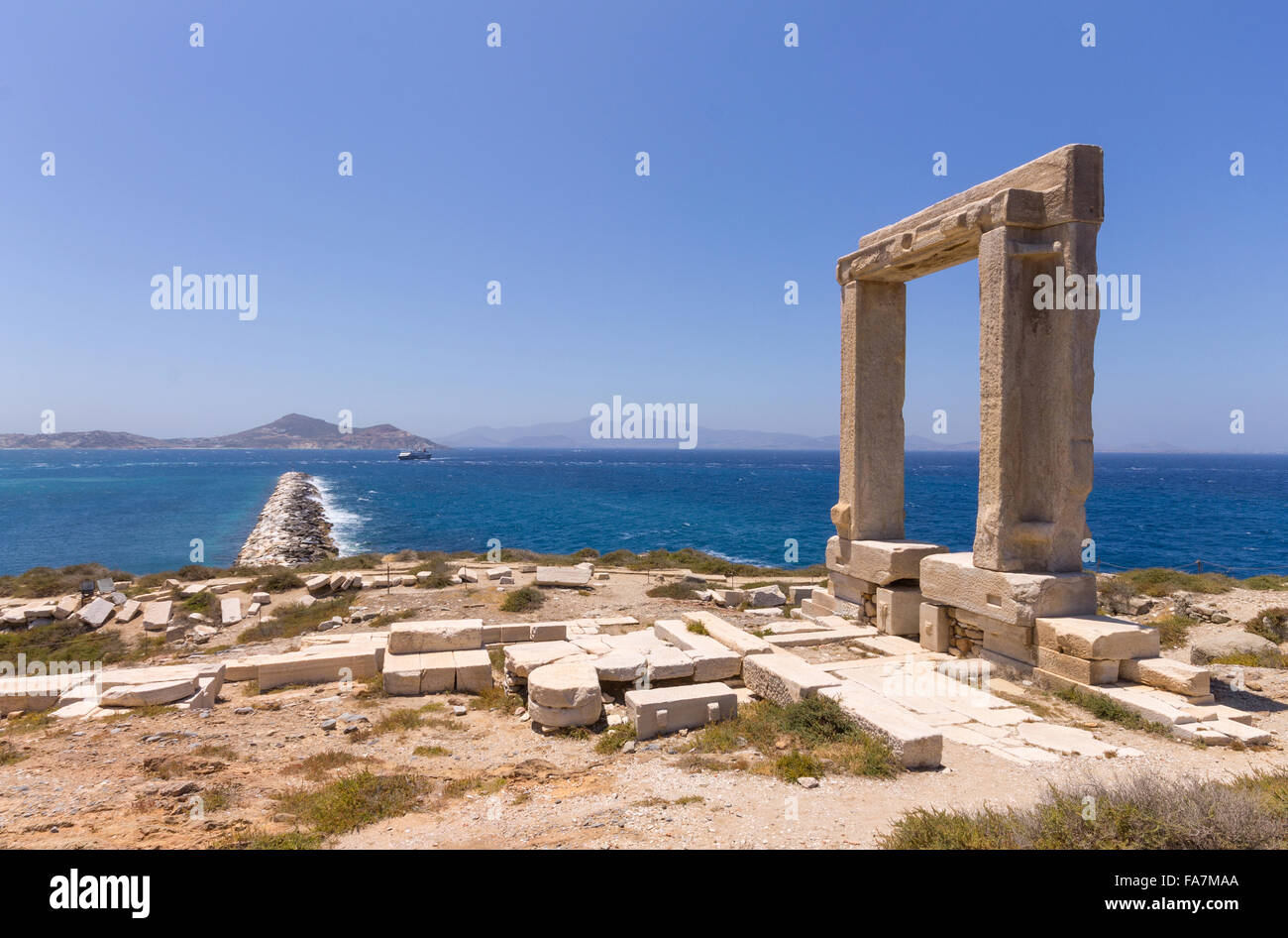 Greece, Cyclades Islands, Naxos, Apollo Temple - Stock Image
