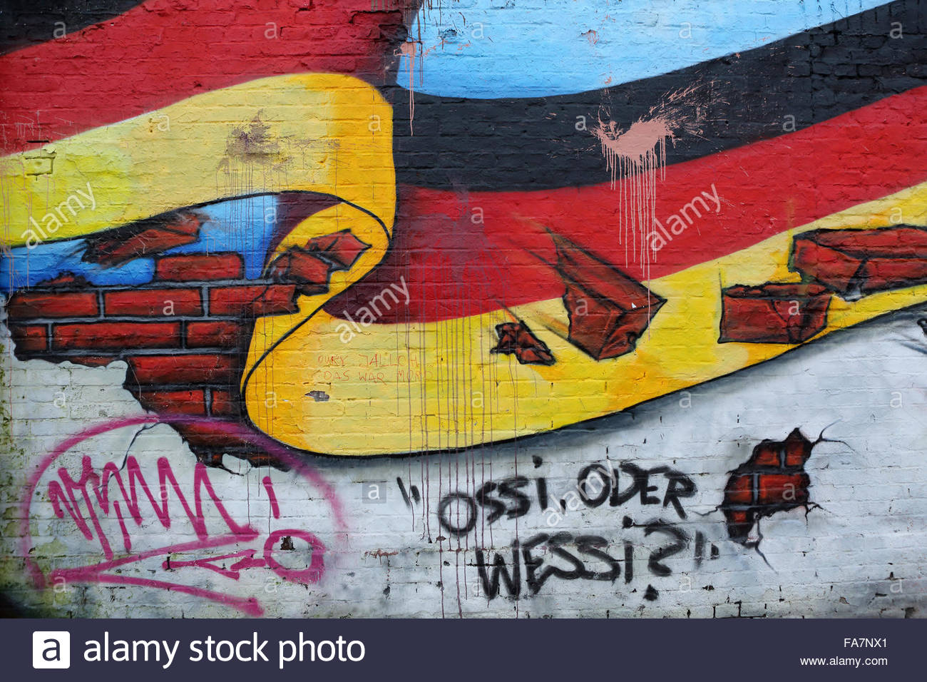 The black, gold and red of the German national flag is depicted on a ...