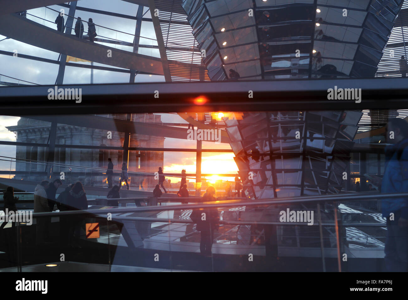 A sunset seen through the glass cupola of the Reichstag Building in Berlin, Germany. Stock Photo