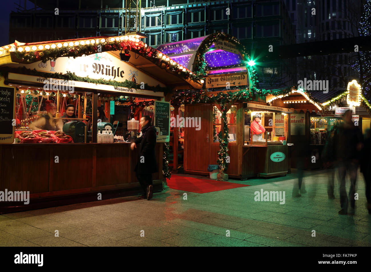 Food and drink stalls at the City Weihnachtsmarkt am Gedachtniskirche Christmas market on Ku'damm in Berlin, - Stock Image