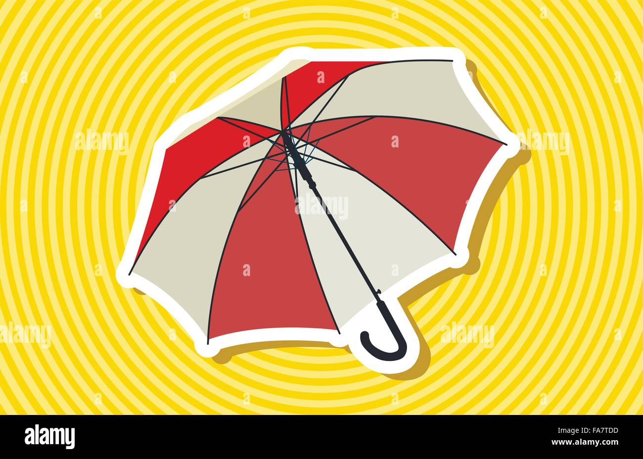 fbe3797fc Nice classical red opened umbrella with rain on yellow stripes Master vector  illustration flatten. Background